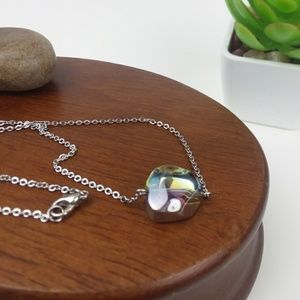 Iridescent Bead Silver Tone Chain Necklace
